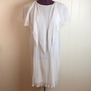 Vintage 70s/80s Ivory Ribbed Party Wedding Dress